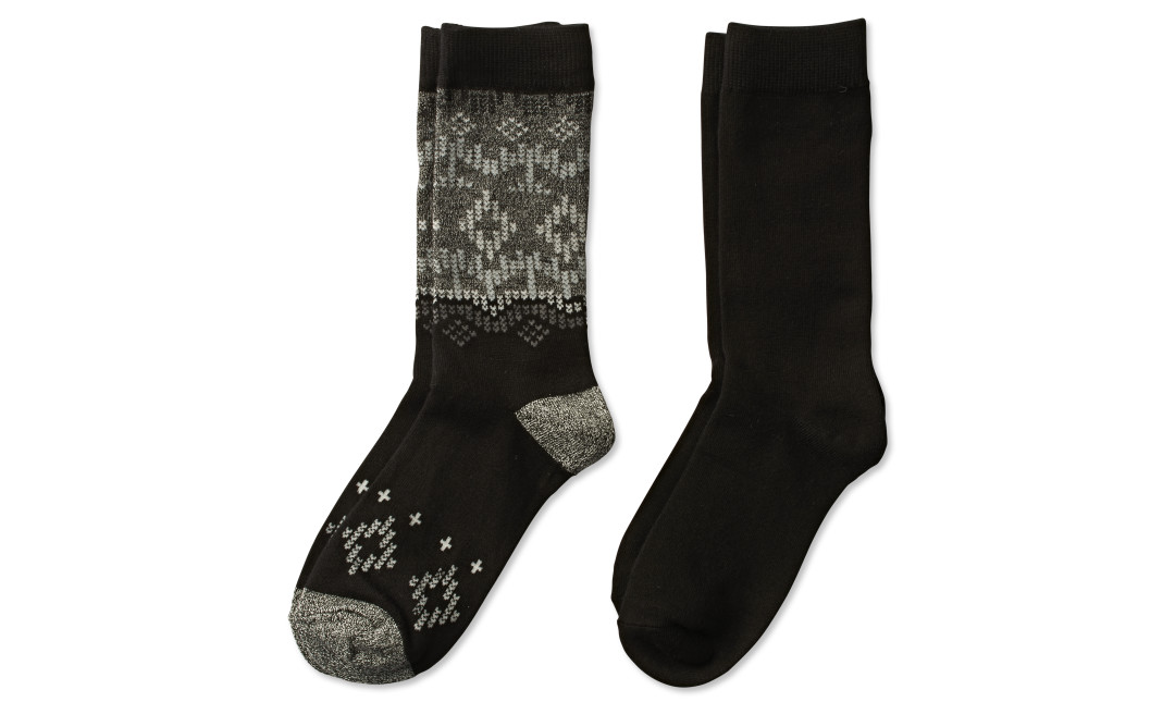 two pairs of bamboo crew socks in black fair isle print and solid black