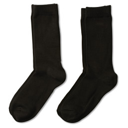 two pairs of solid black crew socks