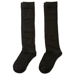 two pairs of solid black knee high socks