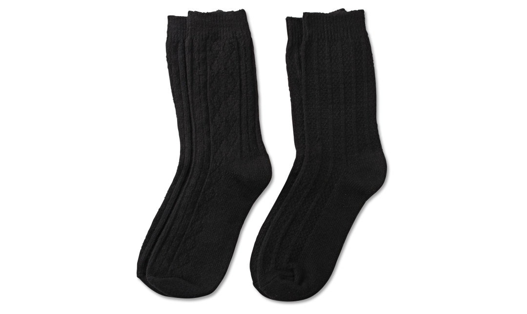 two pairs of black cable knit crew socks