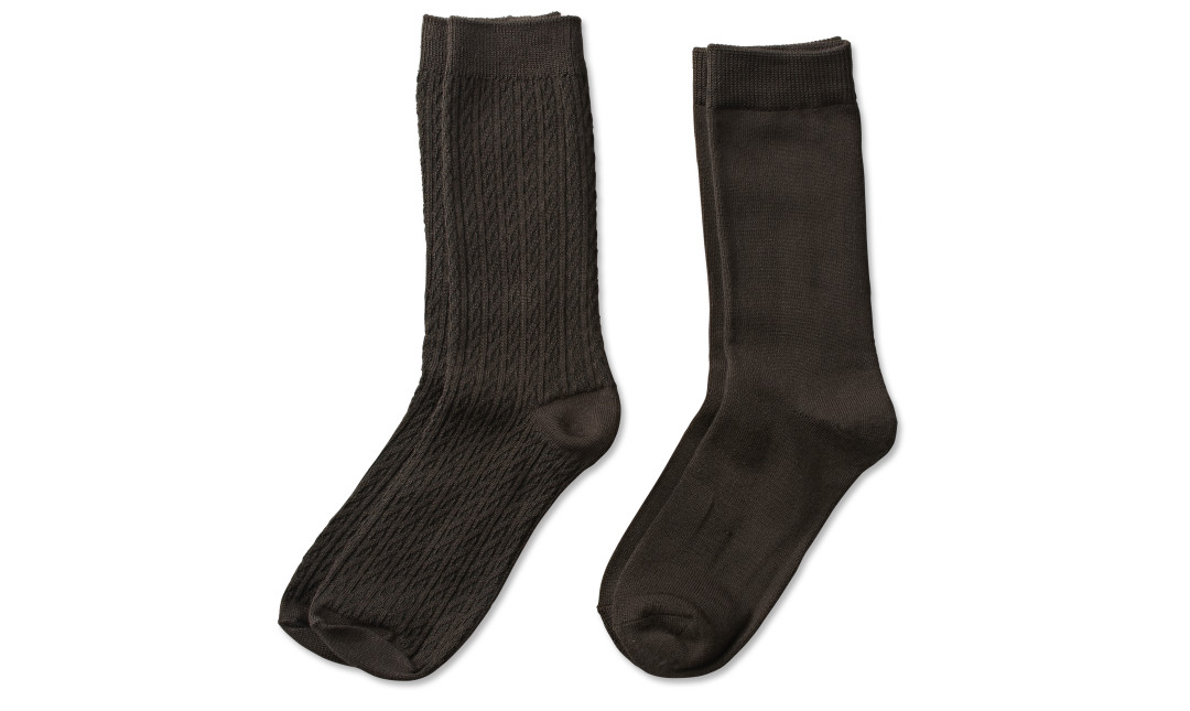 two pairs of chocolate brown cable knit crew socks