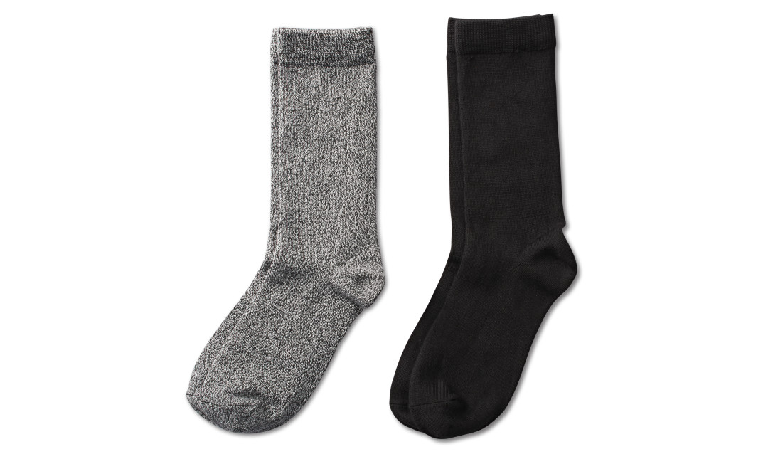 two pairs of crew socks in marled gray and black