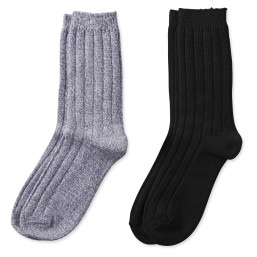 two pairs of rib crew socks in solid gray and solid black