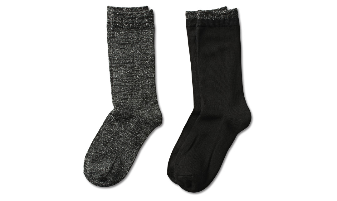 two pairs of metallic black socks and solid black socks