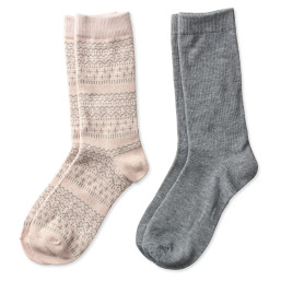 two pairs of crew socks in blush and gray fair isle print and solid gray