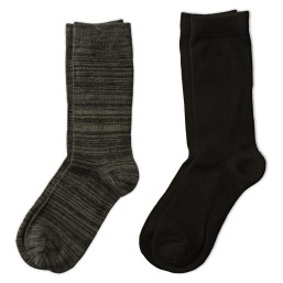 one pair of patterned black crew socks and one pair of solid black crew socks